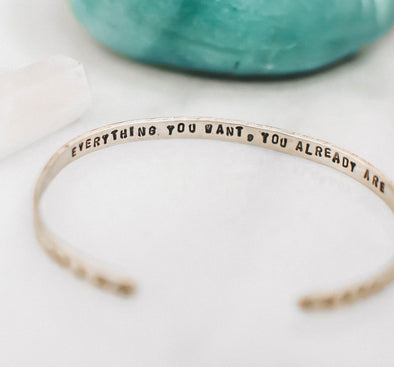 Everything You Want You Already Are // Brass Cuff Bracelet