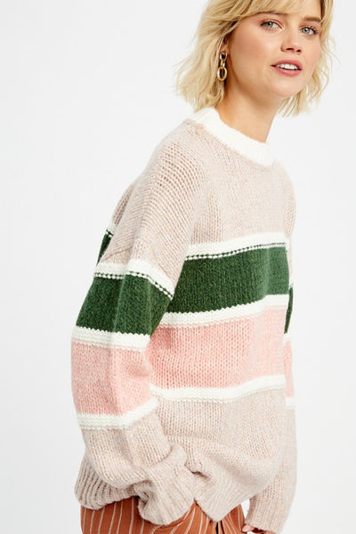 MULTI STRIPE SWEATER - MAUVE