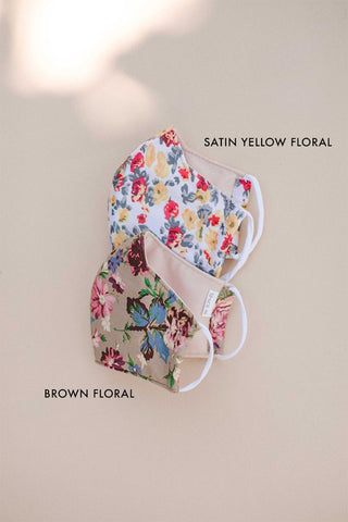 BROWN FLORAL MASK