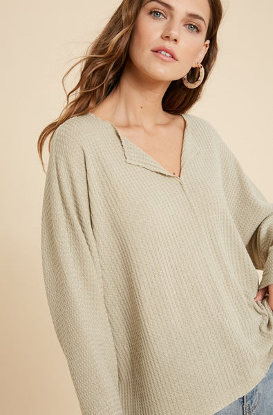 VAL WAFFLE KNIT TOP