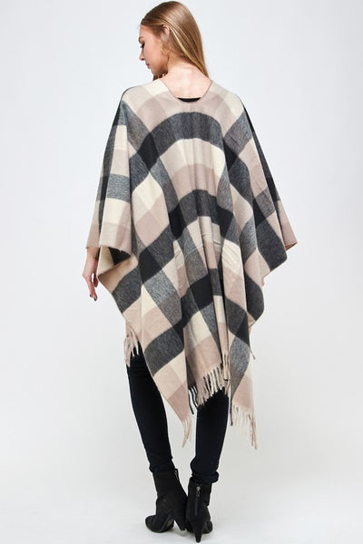 COTTONWOOD PLAID PONCHO