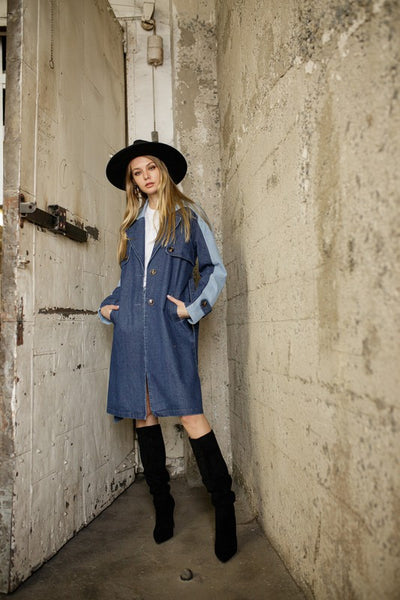 PIA DENIM TRENCH COAT