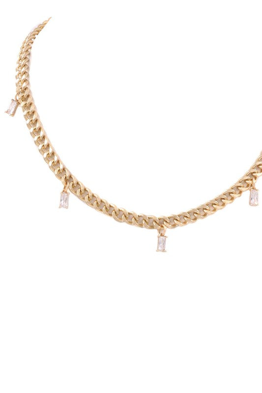 CRYSTAL CHARMS CHAIN NECKLACE