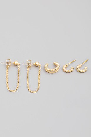 BALL + CHAIN EARRING SET