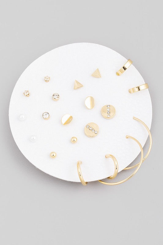 HOOPS + STUDS EARRING SET