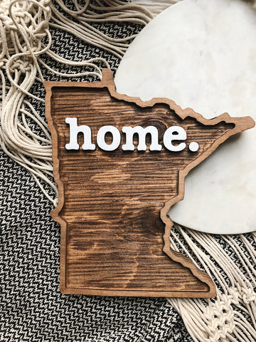 MN HOME WOOD PLAQUE