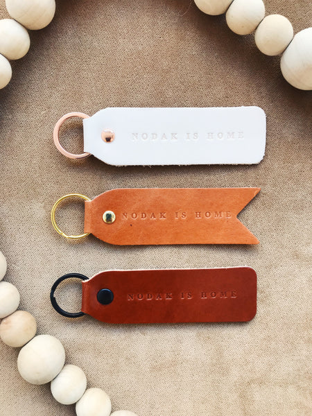 NODAK IS HOME LEATHER KEYCHAIN