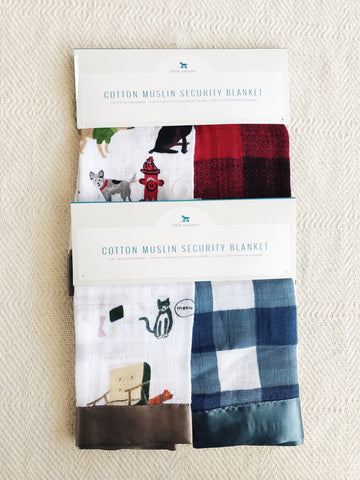 COTTON MUSLIN SECURITY BLANKET - 2 PACK