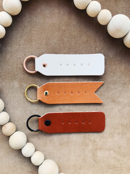 FORKS LEATHER KEYCHAIN