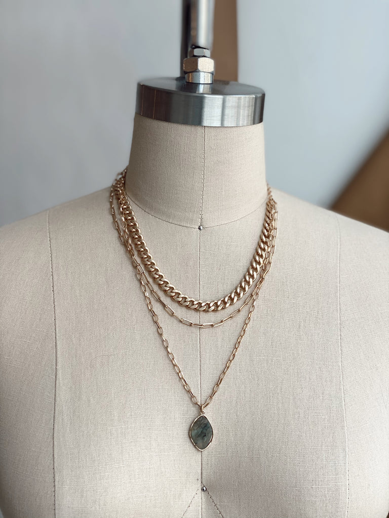LAYERED CHAINS AMAZONITE NECKLACE