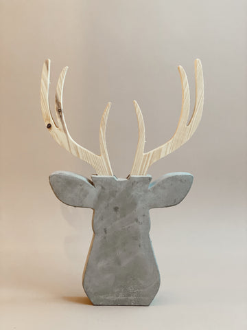 WOOD + CEMENT DEER DECOR