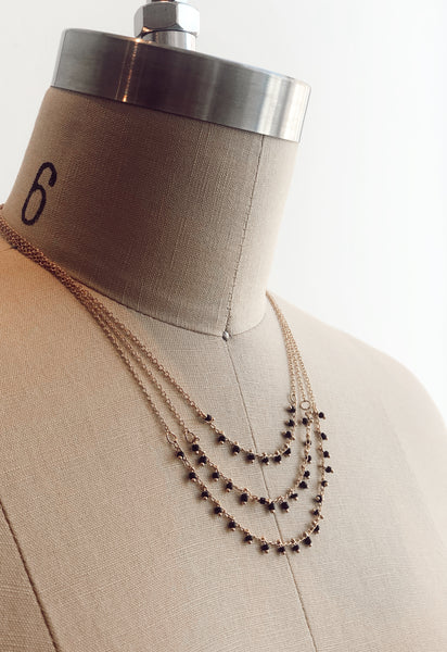 CRYSTAL BEADS LAYERED NECKLACE