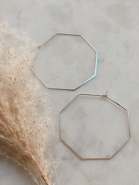 GOLD DIPPED OCTAGON HOOPS