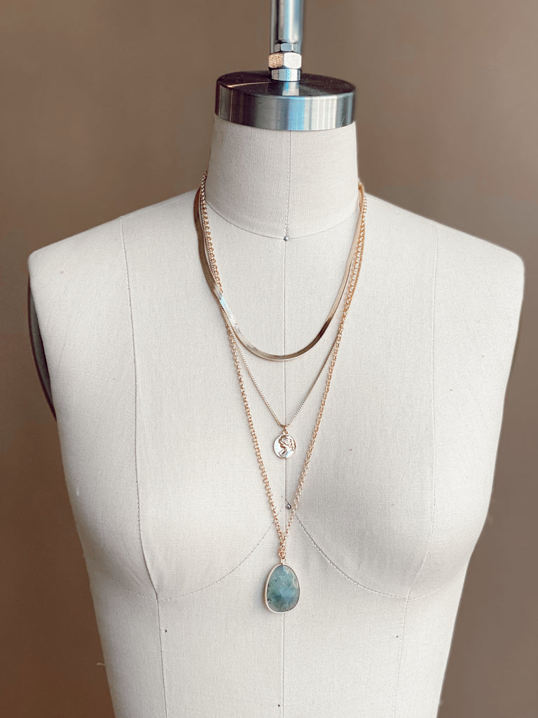 STONE TEARDROP LAYERED NECKLACE