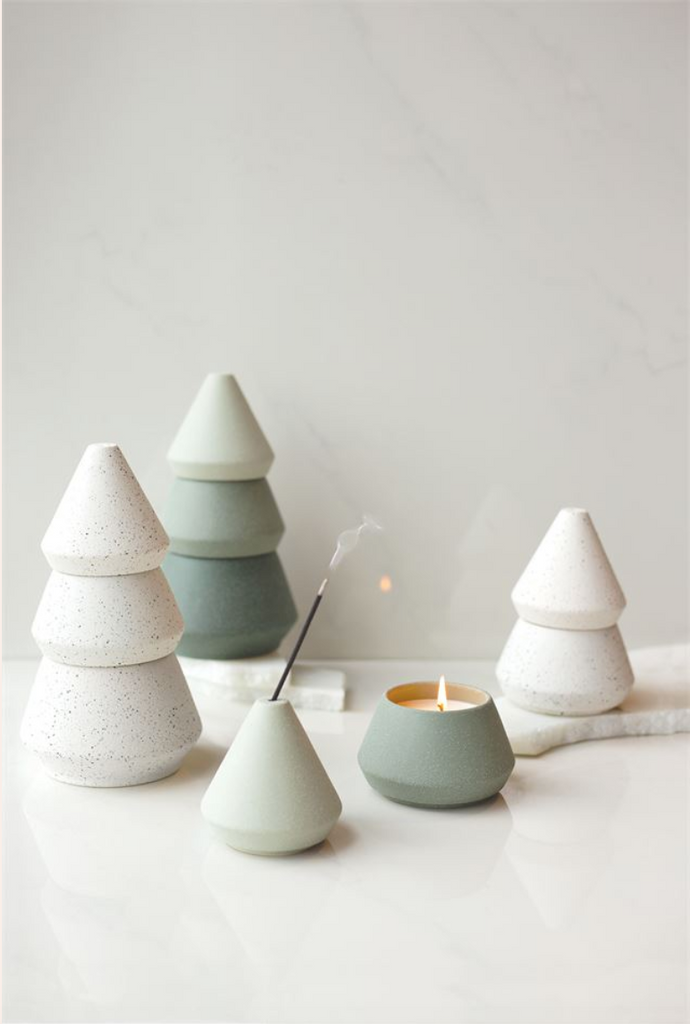 CYPRESS + FIR WHITE TREE CANDLE STACK