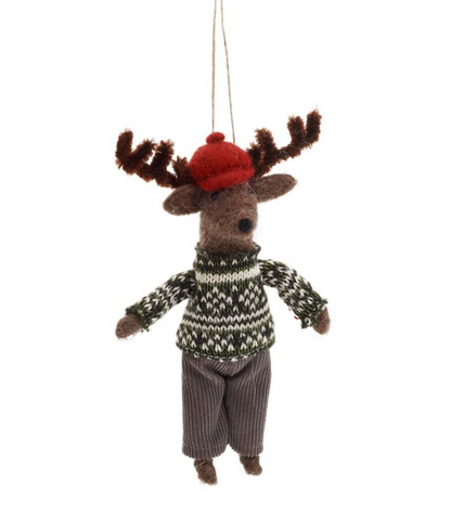 MOOSE IN CAP ORNAMENT