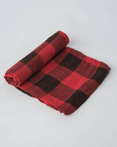 COTTON MUSLIN SWADDLE · RED PLAID