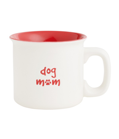 DOG MOM RED ENGRAVED MUG