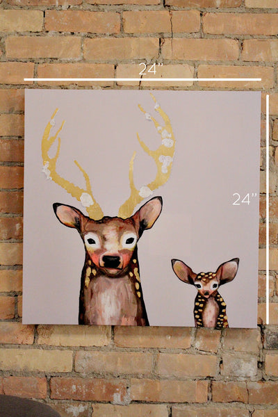 FROSTED BUCK + BABY CANVAS ART