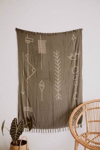 ABSTRACT TAPESTRY IN OLIVE