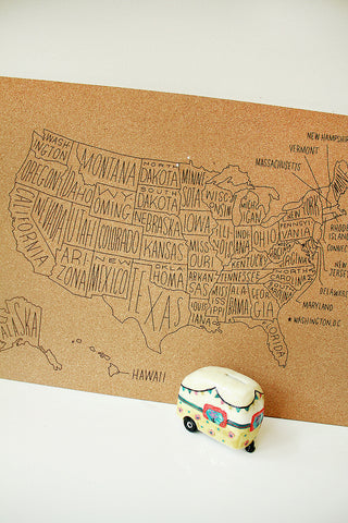 CORK PUSH PIN MAP