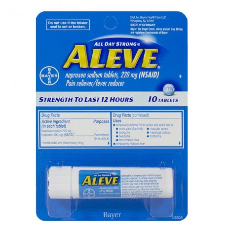 Aleve Tablets - 10 Count - MyTravelPaQ