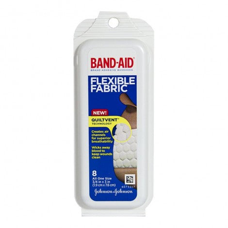 Johnson & Johnson Flexible Fabric Band-Aids, Pack of 8 - MyTravelPaQ