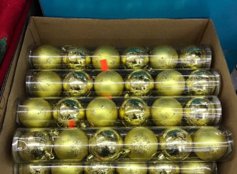 50mm Shatterproof Decorative Christmas Balls - 6 ct - Gold