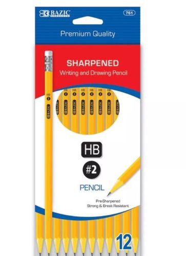 2 Pack - 12 Pencils,Bazic Premium Writing, Drawing Pencil #2 HB, Pre-sharpened