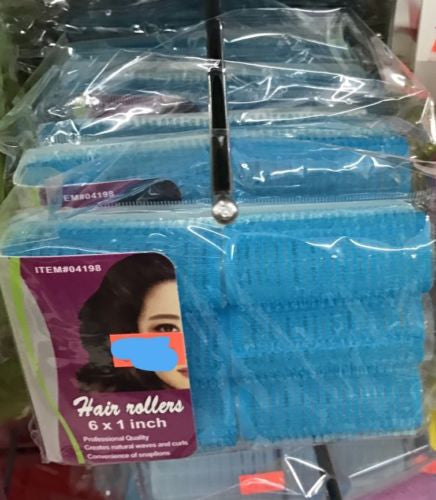 2 Pack - Hair Rollers 6 x 1 Inch - 12 Total - Blue