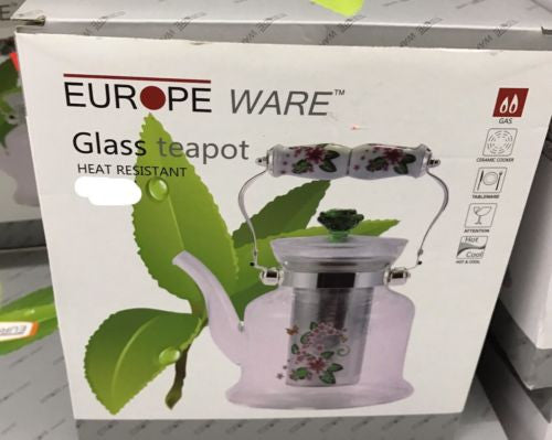 Europe Ware Glass Teapot With Basket Infuser For Tea Or Coffee 1200ML