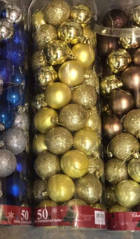 50mm Shatterproof Decorative Christmas Balls - 50 ct - Gold (Various)