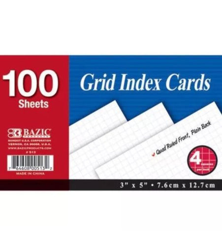 4 Pk, Bazic Grid Index Cards, 100 Sheets Per Pack