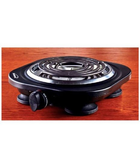 Uniware 1000 Watt Portable Electric Cast Iron Burner - Single Black