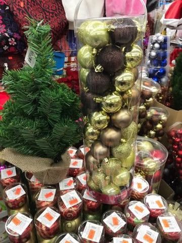 50mm Shatterproof Decorative Christmas Balls - 50 ct - Gold / Brown / Tan