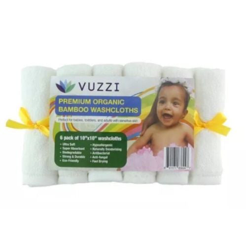 "12 pack Organic Baby Bamboo Wash Cloth Large 10""x10""Abosorbent & hypoallergenic"