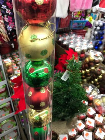 60MM Decorative Christmas Balls - Red/Green/Gold -16ct