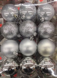 60mm Shatterproof Decorated Christmas Balls - 24 ct - Silver