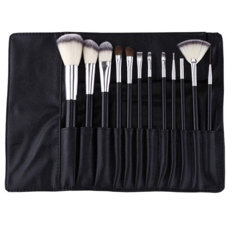 12 Pieces Makeup Brush Set Premium Synthetic Hair Cosmetics Brushes Kit With Bag