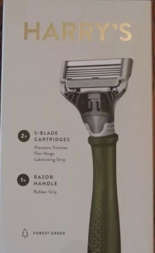 New Harry's Green Truman Handle Razor Kit Set with 2 Blade Cartridges NIB