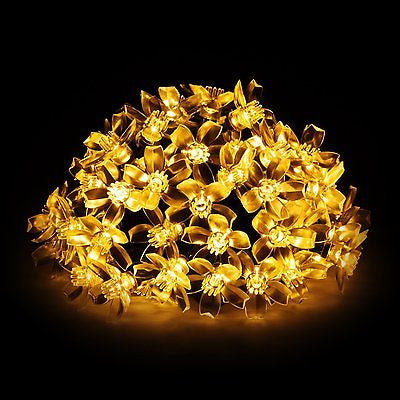 Solar String Light, 50LED 23FT Outdoor Waterproof Flower Light Warm White
