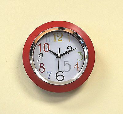 Uniware® Wall Clock, 10 x 10 x 1.7 Inch, (Red)