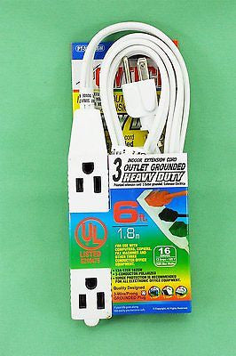 POWTECH 3 Outlet Grounded Heavy Duty Indoor Extention Cord 6 Feet Long