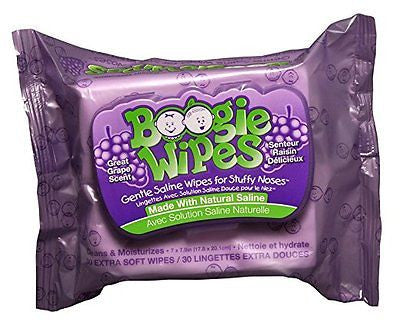 Boogie Wipes Kids and Baby Nose Wipes, 30 ct - Grape Scent (Pack of 3)