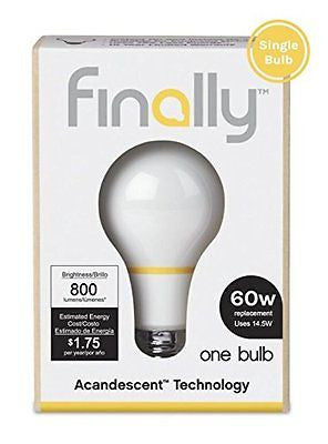 Finally Acandescent 60W A19 800lm Replacement Light Bulb Warm White (2700K) - MyTravelPaQ  - 1