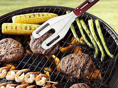2 Sets of Quirky Stainless Steel Grill Wrangler 3-in-1 BBQ Tool