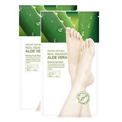 NATURE REPUBLIC Real Squeeze Aloe Vera Peeling Foot Mask - 2 pack - MyTravelPaQ