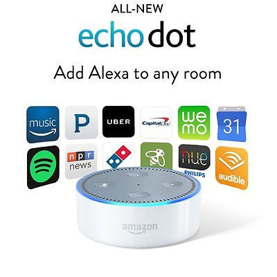 All New Amazon Echo Dot 2nd Generation 2016 w/ Alexa Voice Media Device - White - MyTravelPaQ  - 1
