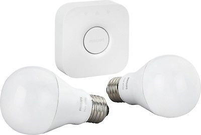Philips - Hue White A19 Starter Kit in Eco-Friendly Packaging - White