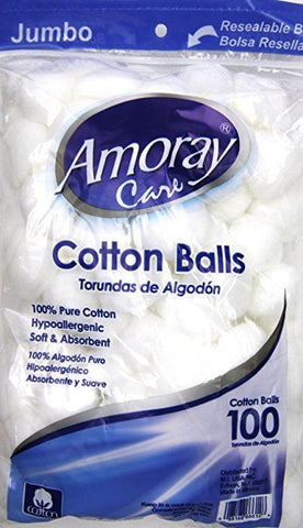 4 Pack - 100 Cotton Balls - Amoray Care Cotton Balls, 100% Pure Hypoallergenic